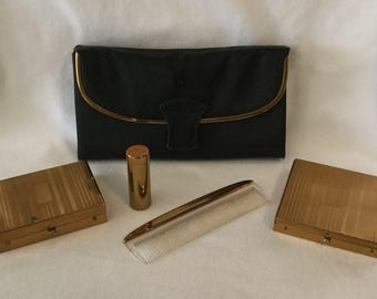 Vintage Rex 5th Ave Four Piece Vanity Compact Set With Cigarette Case And Bag