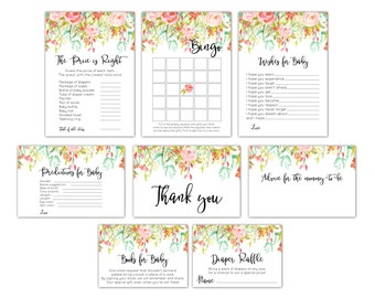 Baby Shower Games Package, Floral Baby Shower Games, Printable Games, Baby Shower Card Package, Floral Games Bundle, Game Set, Games Pack