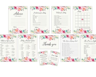 Baby Shower Games Package, Floral Baby Shower Games, Printable Games, Baby Shower Card Package, Floral Games Bundle, Game Set, Games Package