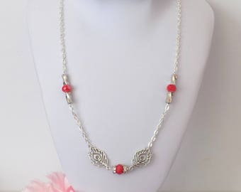 Necklace red AB faceted beads and silver metal feathers with silver rhinestones