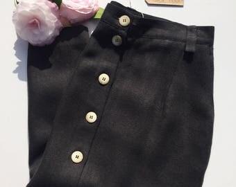 80s Black Linen Midi Button Skirt