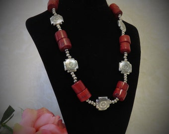 SALE !!! Red Coral Silver Concho Necklace