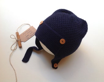 READY TO SHIP - 100% cashmere earflap pilot aviator hat, color navy blue, handknitted , Size 3-4 years