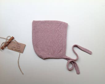 READY TO SHIP - Baby Pixie Bonnet hat 100% cashmere  color Old rose hand knitted,  size 6-12 months