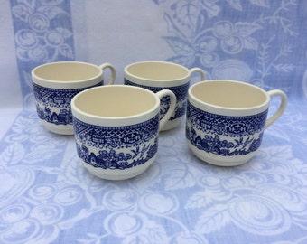 Set of Blue Willow Mugs