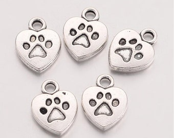 "20 Silver Tone ""Heart"" My Dog Heart Charms w/ Paw Print 13 x 10mm (B144a)"