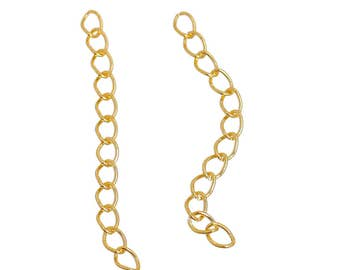 """100 Gold Plated 2"""" Extender Chains (B175b)"""