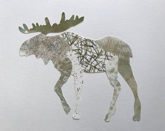Original Watercolor Collage Moose