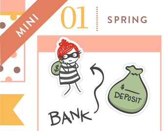 P265 - Bank visit planner stickers, deposit, withdrawl, funny stickers, payday stickers, pay bills, money stickers, 32 stickers