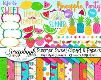 SUMMER SWEET Clipart & Papers Kit, 29 png Clip arts, 23 jpeg Papers Instant Download spring watermelon strawberry lemon lime fruit pineapple