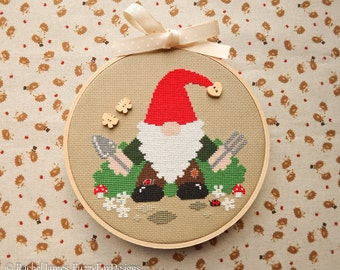 Gardening Garden Gnome Cross Stitch Pattern PDF | Easy | Modern | Beginners Counted Cross Stitch | Instant Download