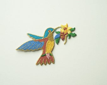 Gold Trim Humming Bird Embroidered Iron On Patch DIY Sew-on Applique