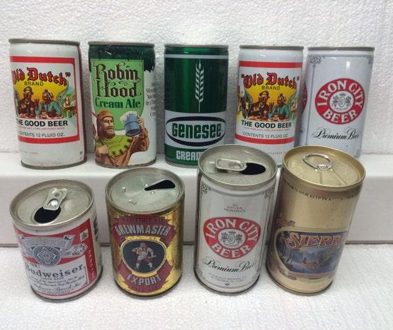 9 Vintage Steel Beer Cans Can Budweiser Genesee Sierra Iron City old Dutch Brewmaster Robin Hood Metal Decor Man Cave