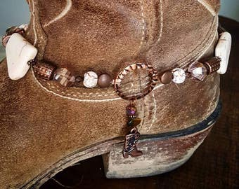 Copper White Stone Boot Charm