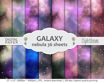 Galaxy Digital Paper,Galaxy art,Stars and Galaxies sky digital paper pack,Milky Way Nebulae space art,starry skies background,commercial use
