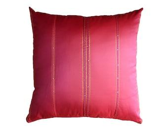 Fuchsia Pillow Cover  Pink Tafetta  Gold Stripe