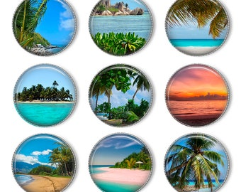 "1"" Tropical beach Bottle cap images. Digital Collage Sheet. Printable images. Circles for Jewelry Making. Instant download"