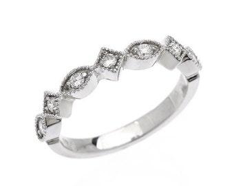Anniversary Ring Vintage Scalloped Diamond 14k White Gold Band