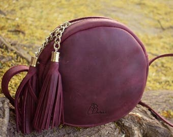 Round Leather Bag, Handmade round purse, small leather bag, small purse, women small bag, cross body purse, girlfriend gift, wife gift
