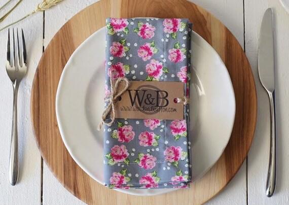 Fabric Napkin   table linen, cloth napkin set, table decor, roses
