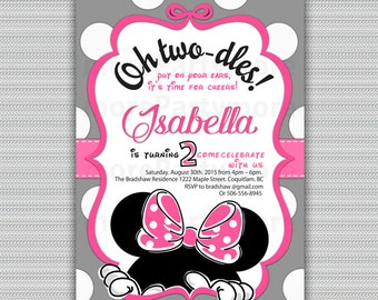 Minnie Mouse Invitation Oh Twodles Invitation, 2nd Birthday Minnie Mouse Invitation, Hot Pink 1st minnie party, Party Twodles, Printable