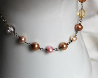 Pearl Citrine Pink Quartz Sterling Silver Rosary Necklace