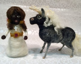 Needle felted First Communion doll and her pony, Waldorf First Communion doll with her felted pony, felted spring doll and her wool pony