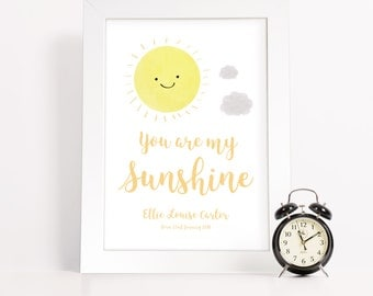 Baby Gift - Baby shower - Nursery Decor - New baby gift - Newborn - You are my sunshine - Personalised gift - Framed Print - PP262