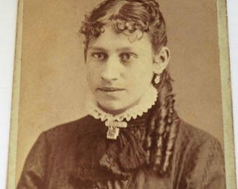 CDV Photo Younger Victorian Woman Victorian Ringlets Hairstyle and Jewelry