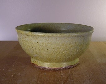 Bowl - Speckled yellow hand thrown bowl