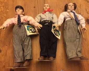 Three 3 Stooges Figures Curly Moe Larry like new with tags 1988 Presents