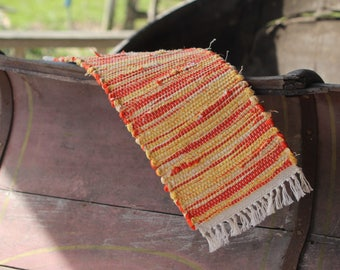 Rustic Toilet Tank Runner, Table Runner handwoven orange/yellow with white fringe