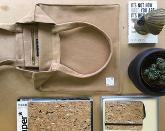 Camel caramel coloured felted wool Tote Bag