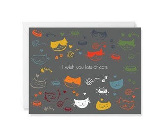 I Wish You a Lot of Cats Modern Greeting Card