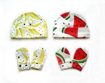 Organic baby clothes baby hat + baby mittens boys hats Size 0-3 months beanie toddler hat newborn hat newborn hats baby boy hat