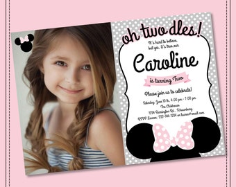 Minnie Mouse Invitation Oh Twodles Invitation, 2nd Birthday Minnie Mouse Invitation, Printable Grey Pink Black Printable Girls Party Twodles