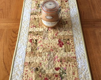 Scrappy Rail Fence Table Runner, Shabby Chic Table Runner, Quilted Table Runner, Scrappy Quilted Runner