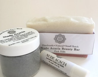 The Facial Set• Skin Care Set, Natural Skincare, Gift for her, Spa Gift, Gift for Mom, Valentine's Day Gift, Valentine's Day Gift for her