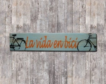Poster wood bike decoration stencil-art life