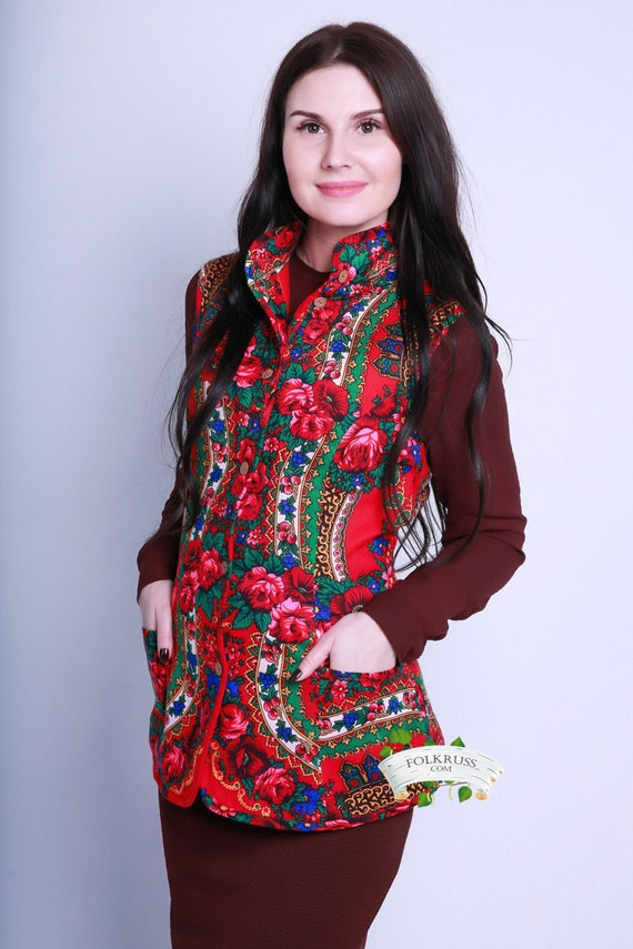 Floral Russian traditional Jacket with fleece lining, Woman Flowered Vest, Pavlovo posad ornament vest