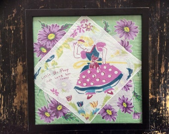 Handkerchief Violets Little Bo Peep Nursery Rhyme Black See-Through Frame Vintage