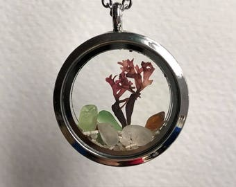 Porthole to Nova Scotia Necklace, sea glass locket necklace, memory locket, floating locket, beach necklace, sea glass jewelry