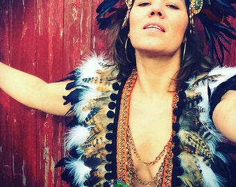 Natural and black tribal feather collar, Burning Man tribal feather capelet, feather and chain breastplate, festival clothing, coachella