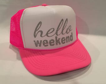 Hello Weekend, Neon Pink and White, Trucker Hat