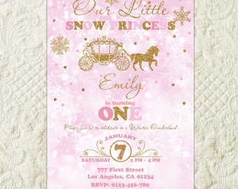 Winter Onederland Invitation, Pink And Gold Snowflake First Birthday Invitation, Winter Birthday Party Invitation, Wonderland Party Invite