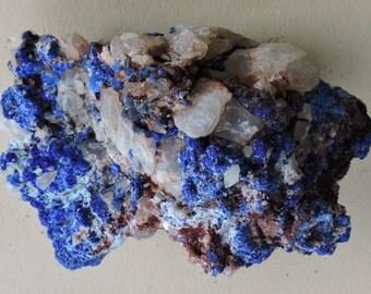 Azurite on quartz from Morocco