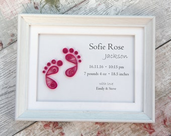 New baby keepsake, Nursery wall art, birth announcement wall art, personalized baby gift, baby birth stats, baby room decor, new baby gift