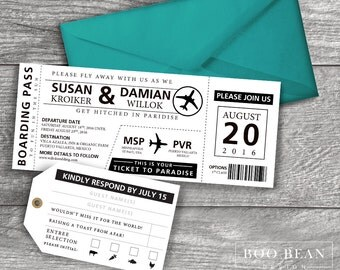 Destination Boarding Pass Invitation | Printable Invitation | Destination  Wedding Invitation | Boarding Pass | Airline  Airplane Ticket Invitations