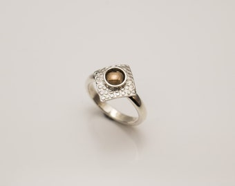 Hand Made silver Textured Square top ring with Smokey Quartz