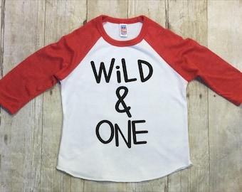 Boys First Birthday Shirt-Birthday Raglan-Wild One Birthday Shirt-Boys First Birthday Raglan-Wild and One Shirt-Smash Cake Shirt-Made in USA